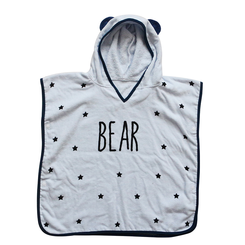 New Style 100% Cotton Bear Hooded Bath Towel for baby kids Hot Sale Customized