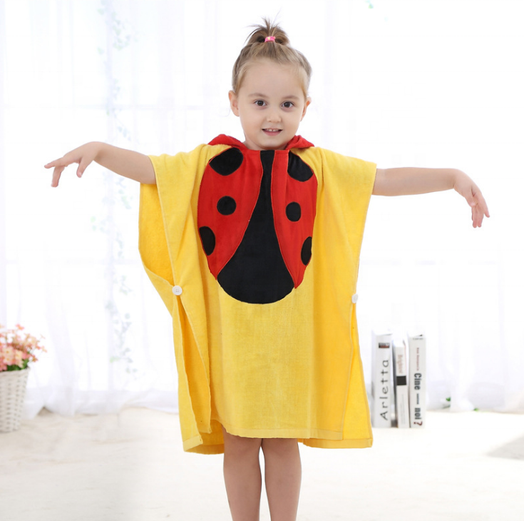 China supplier hot sale 100% cotton hooded towel/poncho for baby kids
