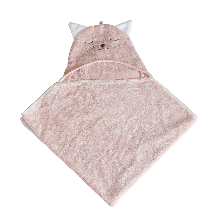 Wholesale Organic cotton Pink Baby Animal Hooded Bath Towel with Design