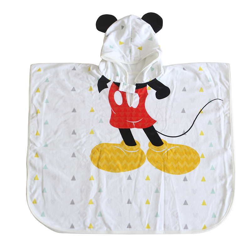Customized design cartoon logo organic bamboo hooded poncho towel for baby