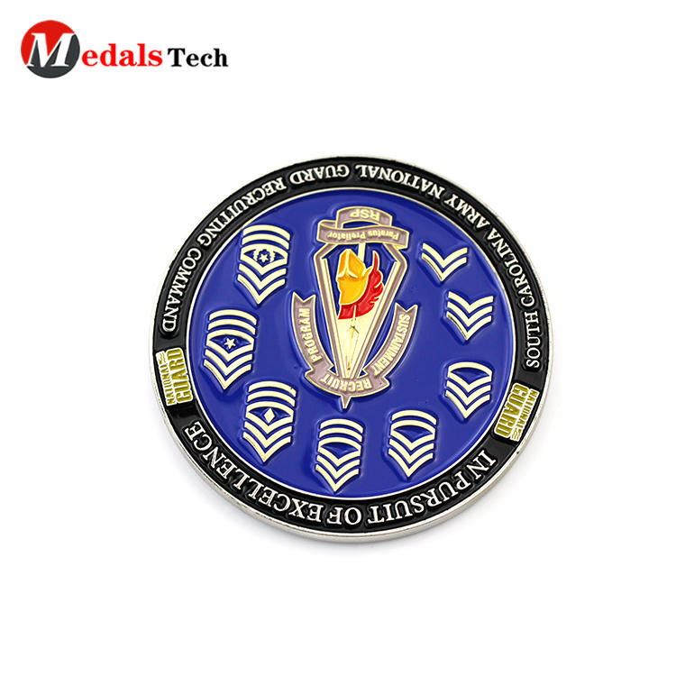 Custom engraved logo double sides military challenge coins
