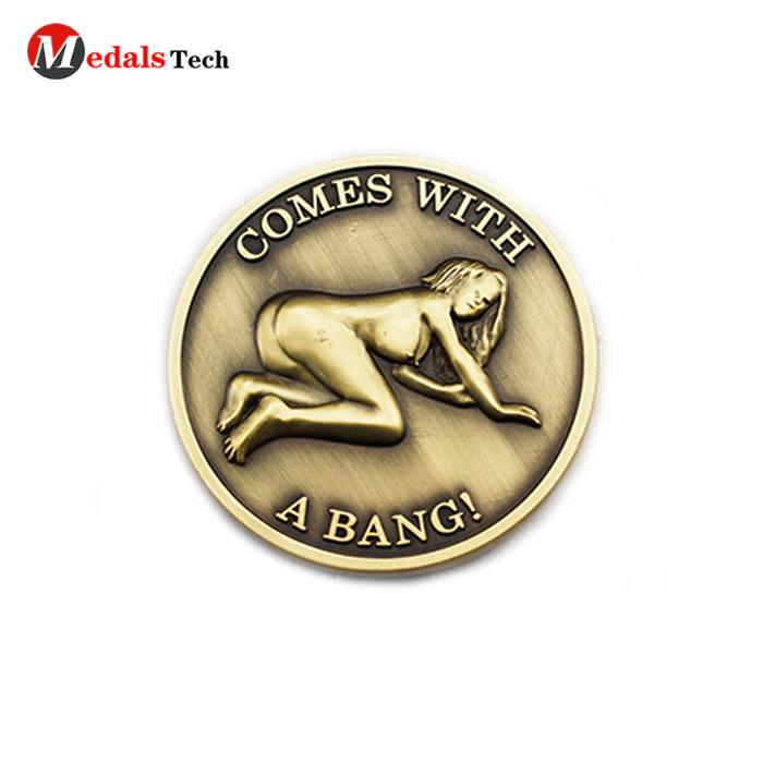 High quality custom 3d sexy girl logo metal challenge coins