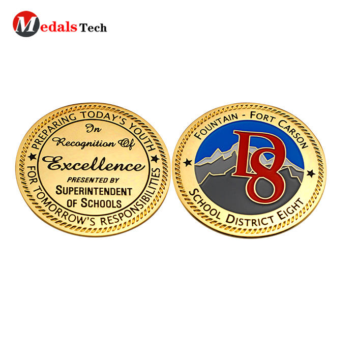 Factory price gold plating custom logo school challenge coins