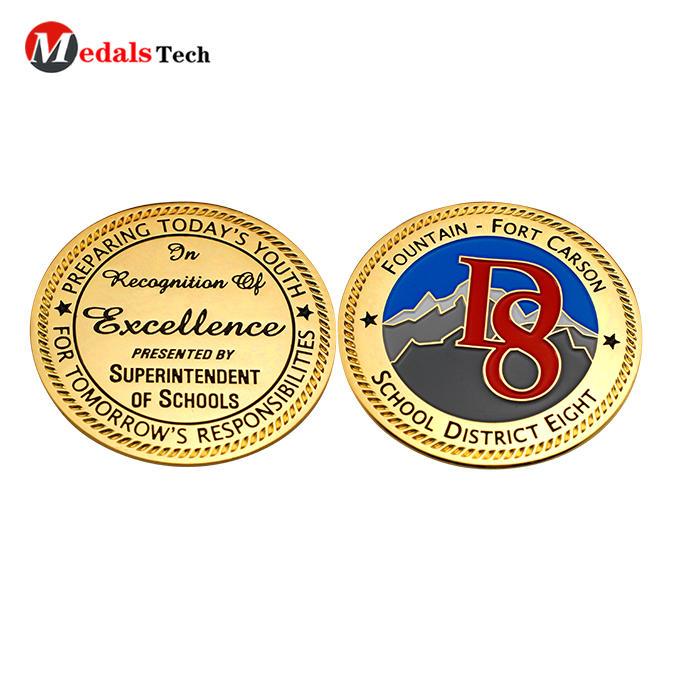 Factory price gold plating custom logo school challenge coins