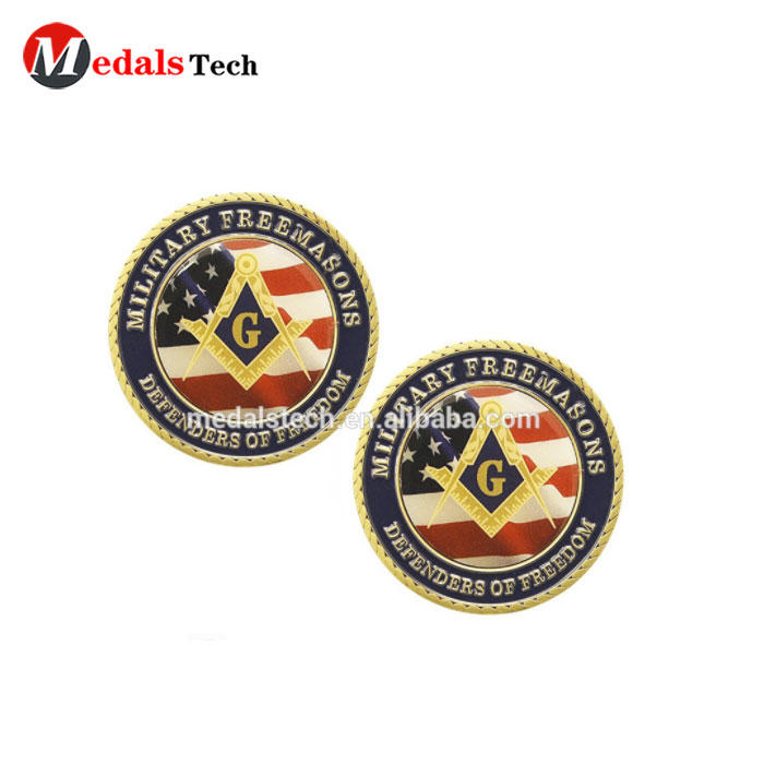 Dongguan factory custom military challenge masonic coin with color filled