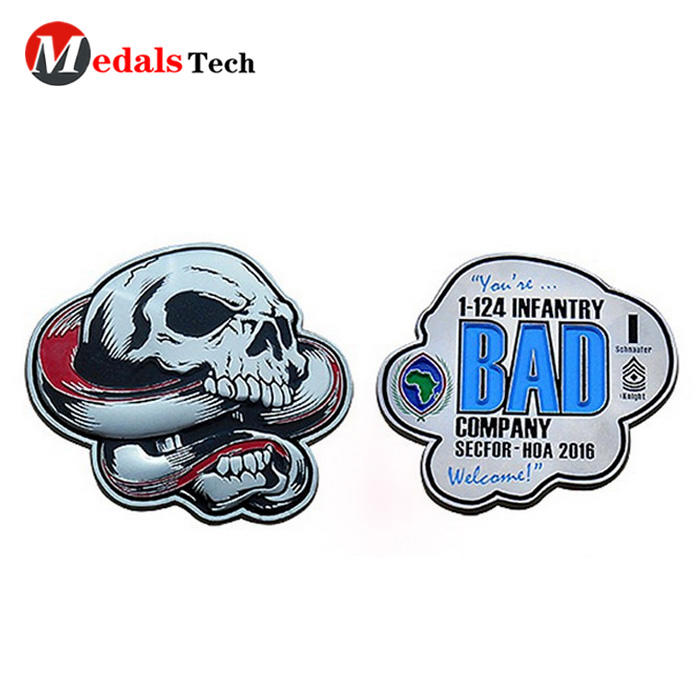 Creative shape 3d logo souvenir custom skulls metal challengecoin