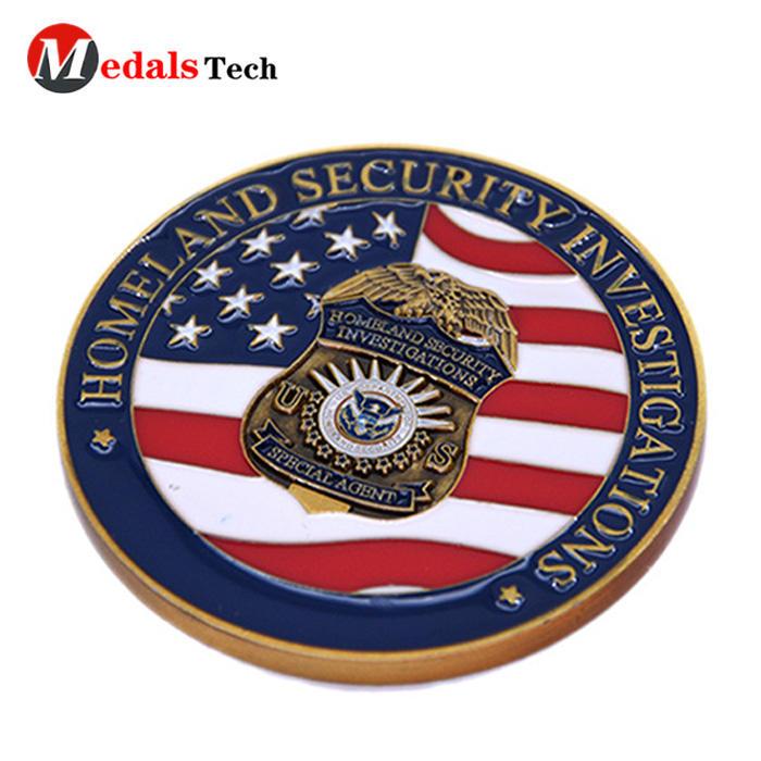 No minimum order color fillednational flag security challenge coins