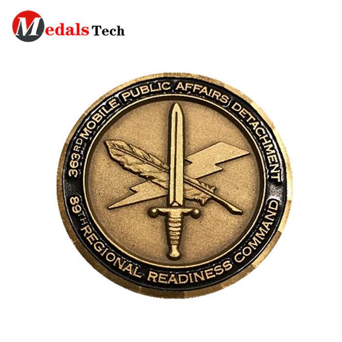 Cheap custom challenge 24k gold made metal dollar coin
