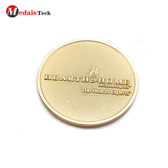 Cheap custom gold engraved logo round shape business coins