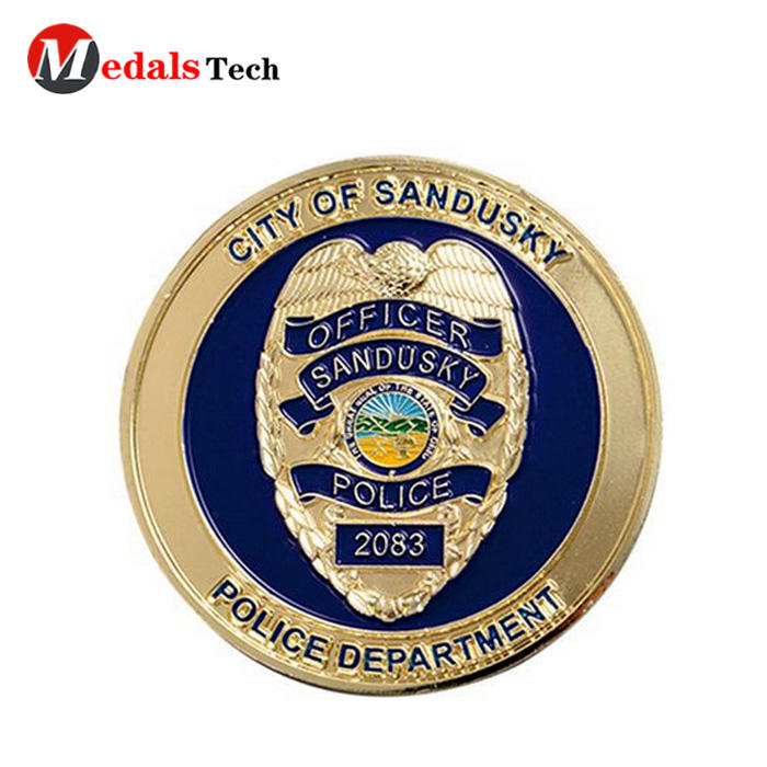 Top quality custom old gold engraved logo military challenge coins