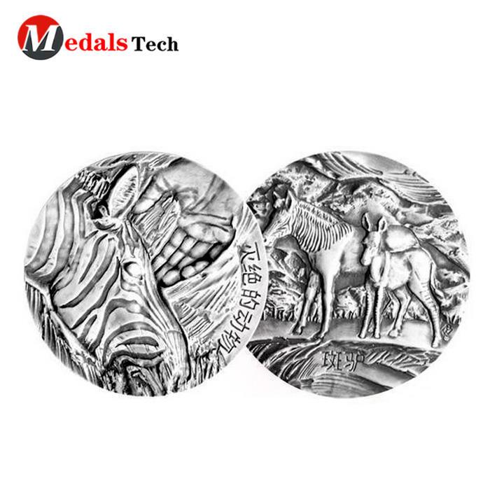 Custom silver 3d metal engraved singaporesouvenir coins