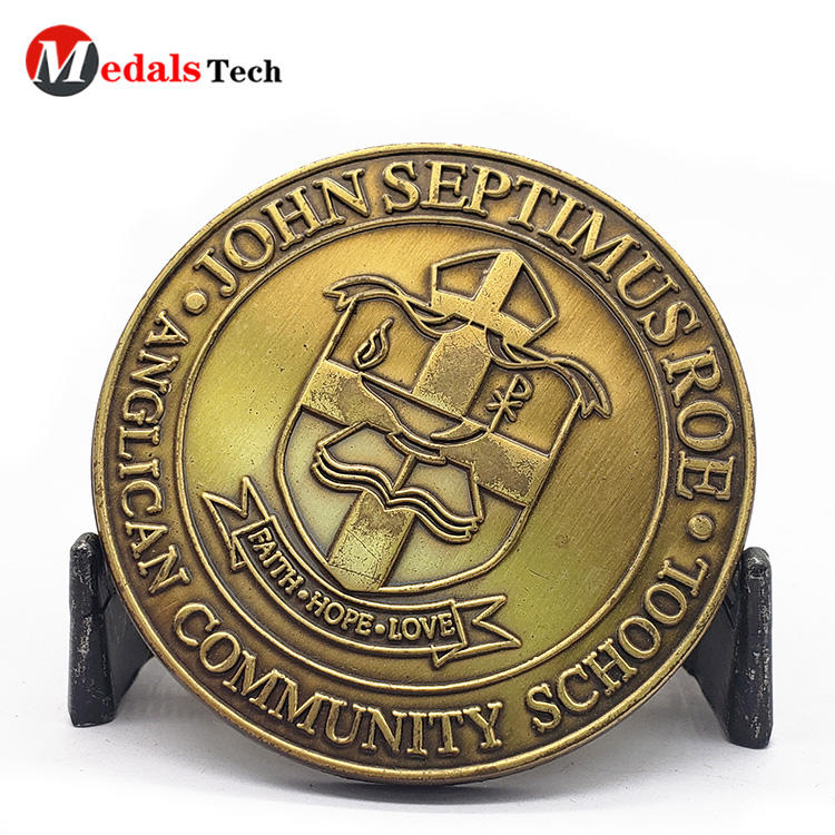 Cheap school old gold custom logo metal sport challenge coins
