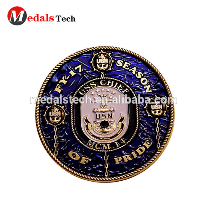 Wholesale cheap souvenir custom 3d usa navy challenge coin