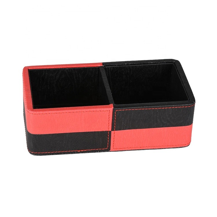 Factory Directly Supply Hotel Desk Organization Pu Leather Tea Bag Storage Box with Custom Logo