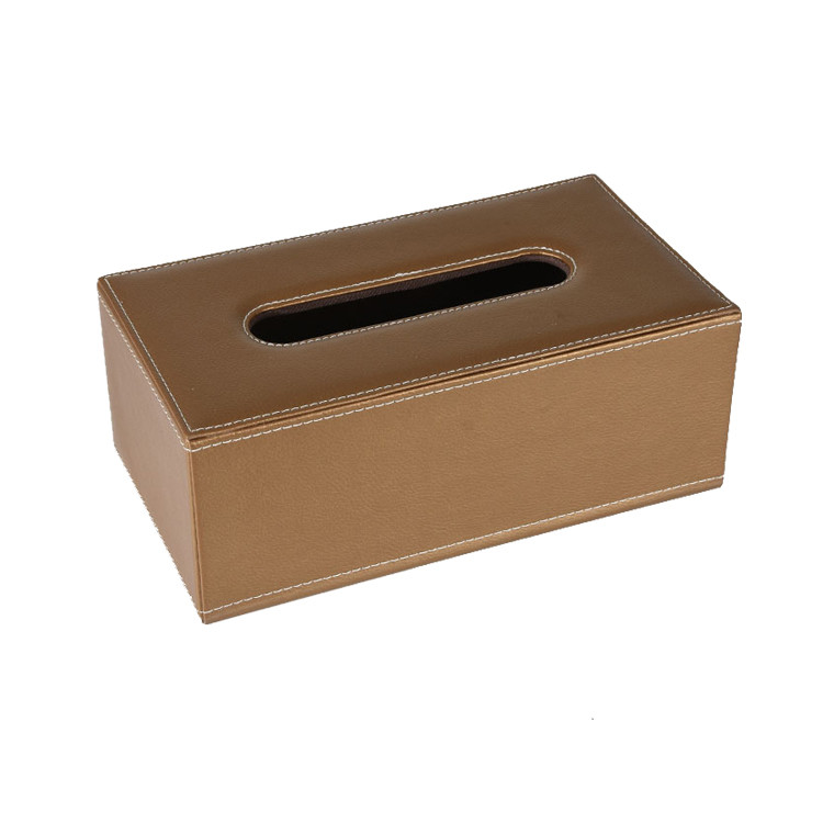 Home Office Car Use Leather Rectangular Tissue Paper Box Holder Case Cover Tray Pumping Paper Case with Magnetic Bottom