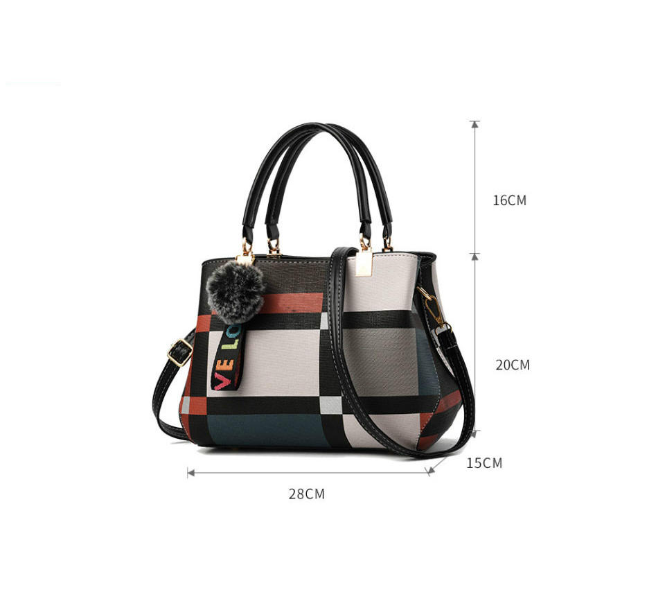 New Casual Plaid Shoulder Bag Fashion Stitching Wild Messenger Brand Female Totes Crossbody Bags Women Leather Handbag