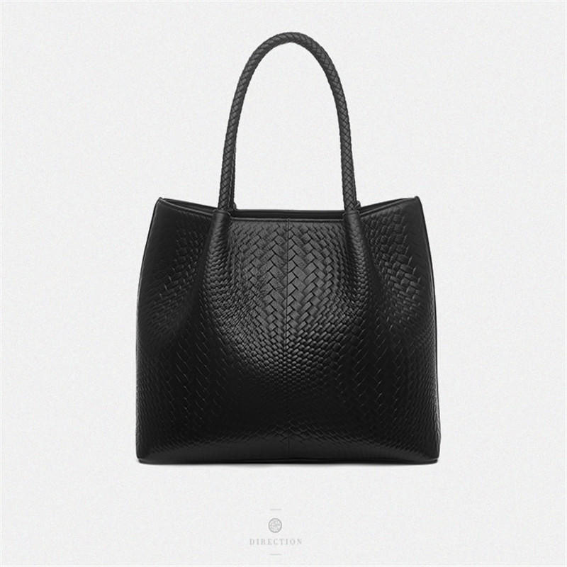 Leather Women Handbag Vintage Weave Shoulder Bags Lady High Quality Female Style Tote Bucket Bag