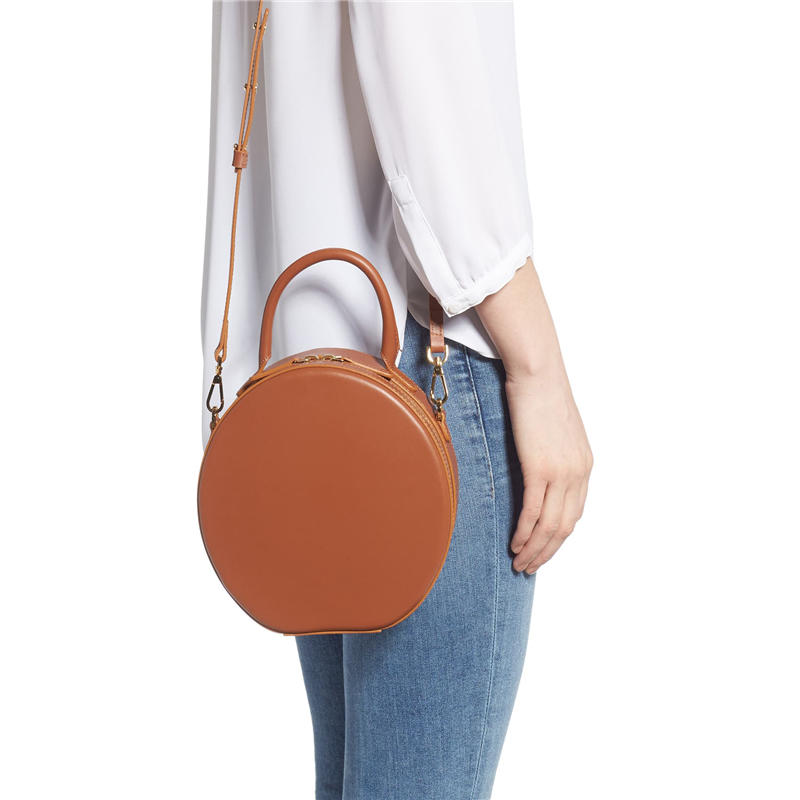 Cute Round Circle Shoulder Bag Women Fashion Daisy Print Crossbody Bag PU Leather Chain Ladies Messenger Pouch Zipper Crossbody