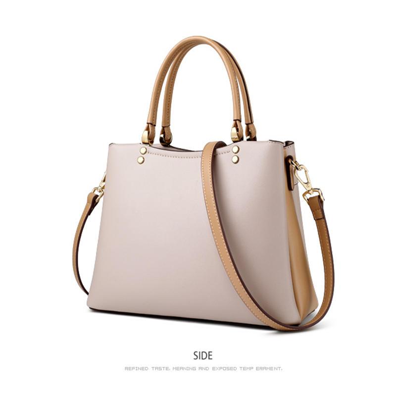 Elegant Fall Winter Bag Cowhide Leather Lady Handbag Simple Tote Female Large Capacity Purse Brand Messenger Bag for Women