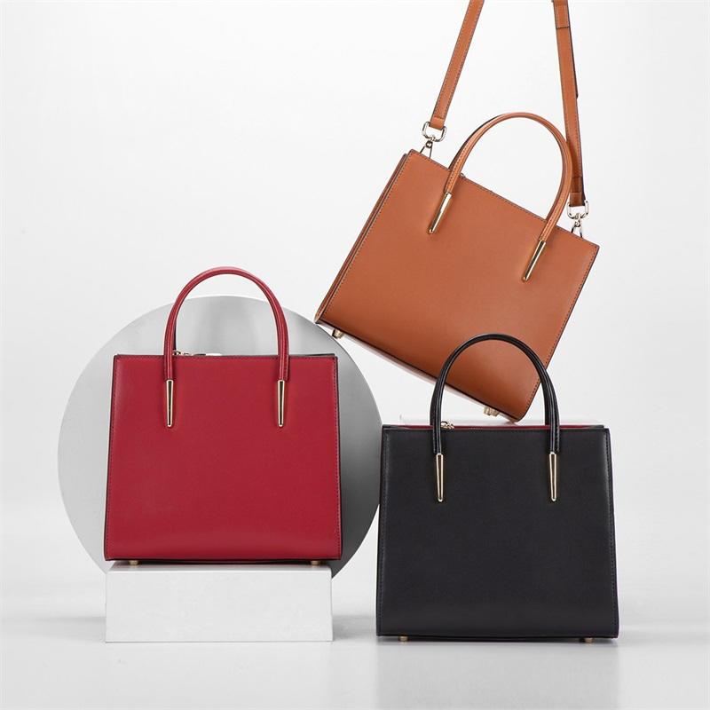 Trendy European Style Women Handbag Decoration Pu Leather Hand Bag Lady