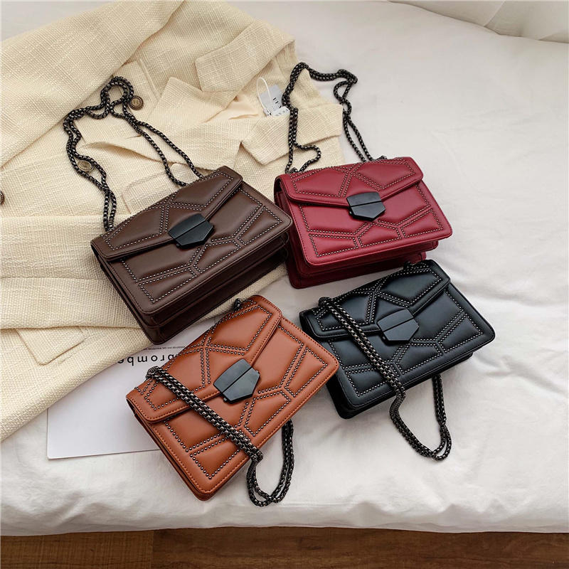 Rivet Chain Brand Designer PU Leather Cross-body Bags for Women 2020 Simple Fashion Shoulder Bag Lady Luxury Small Handbags