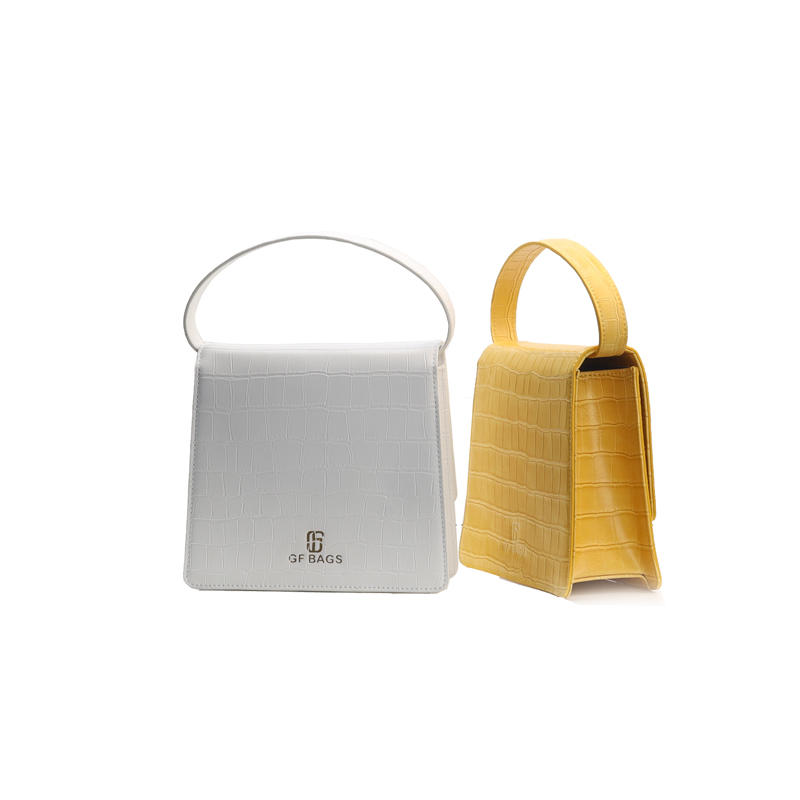 own brand design genuine leather fashion small Handbag for Women yellow white pure color girls shopping purses and handbags