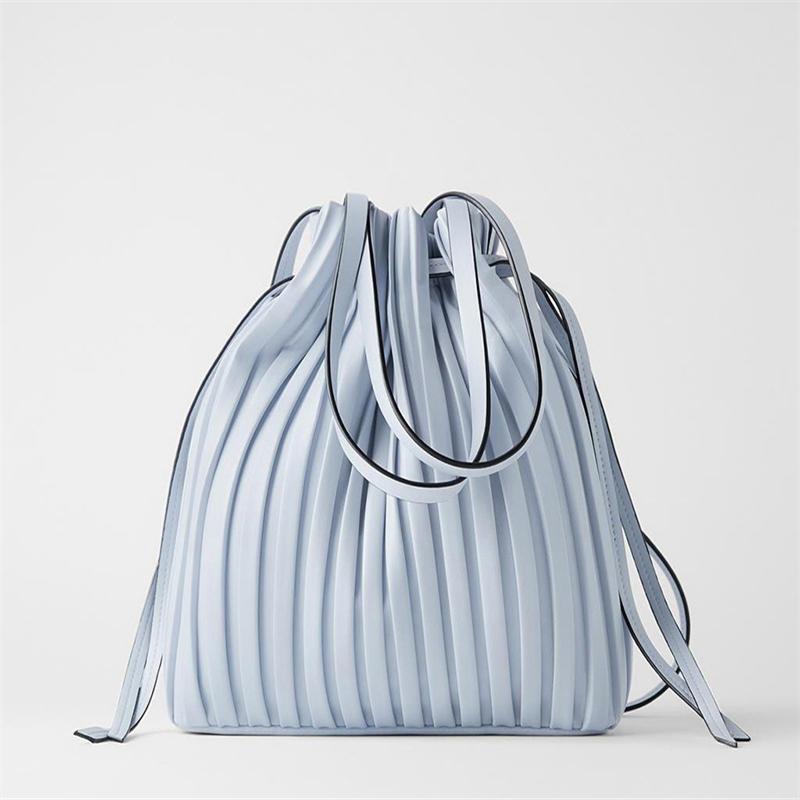 Brand Design PU Leather Shoulder Bag Pleated Stripe Bucket Bag Ladies Crossbody Bags For Women 2020 Handbag