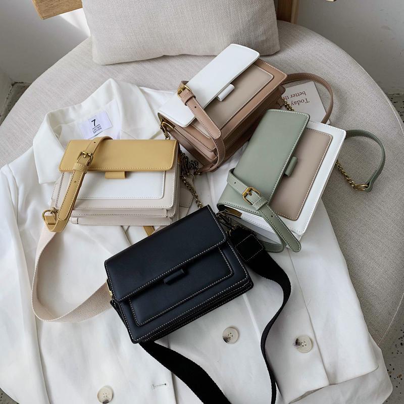 Contrast Color Leather Cross-body Bags For Women 2020 Travel Handbag Fashion Simple Shoulder Bag Ladies Cross Body Bag