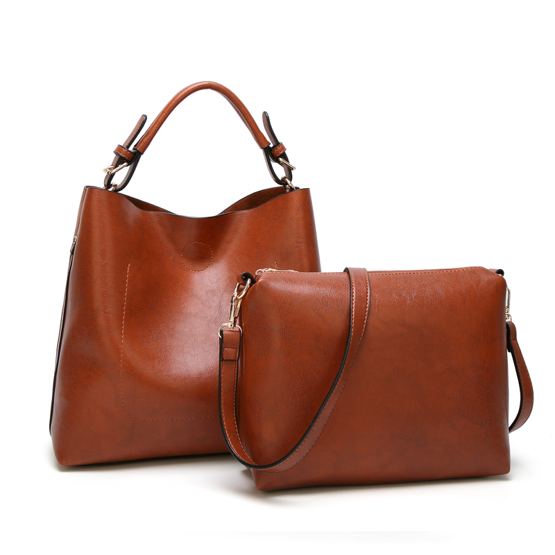 2020 new fashion PU leather handbag ladies shoulder bag with insert 2 pcs pockets tote bags for woman