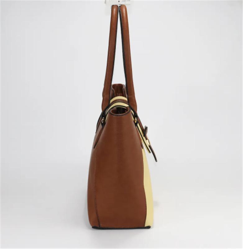 Women PU Mixed ColorFaux Leather Tote Bag PU Ladies Handbag Travel Bag
