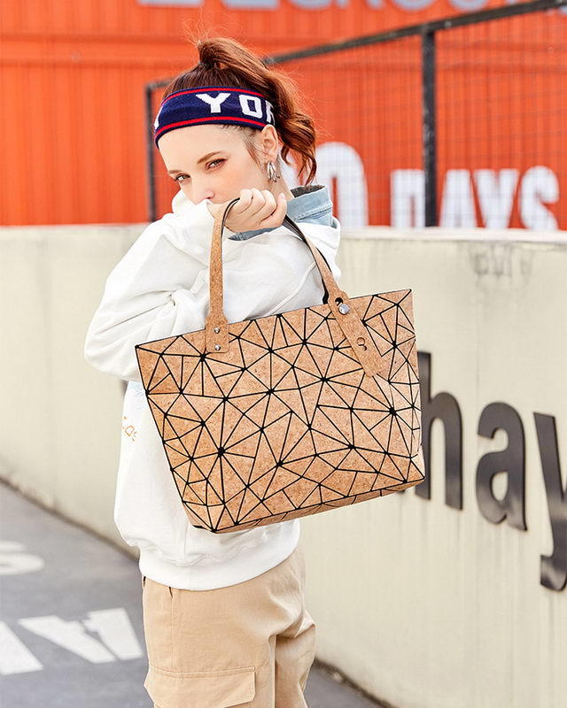 Geometric Cork Type Girls Totes Travel Handbag