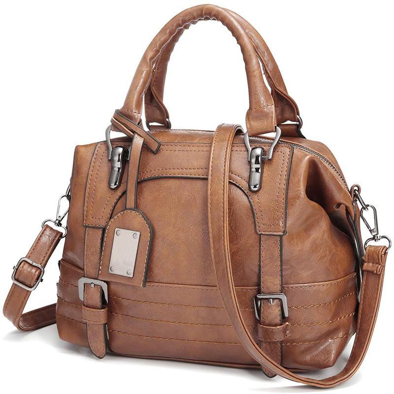Woman's Handbag Retro Shoulder Bag in Oil Wax Leatherette Tote Shoulder Bag for Lady with Long Strap Class Bag Shoulder