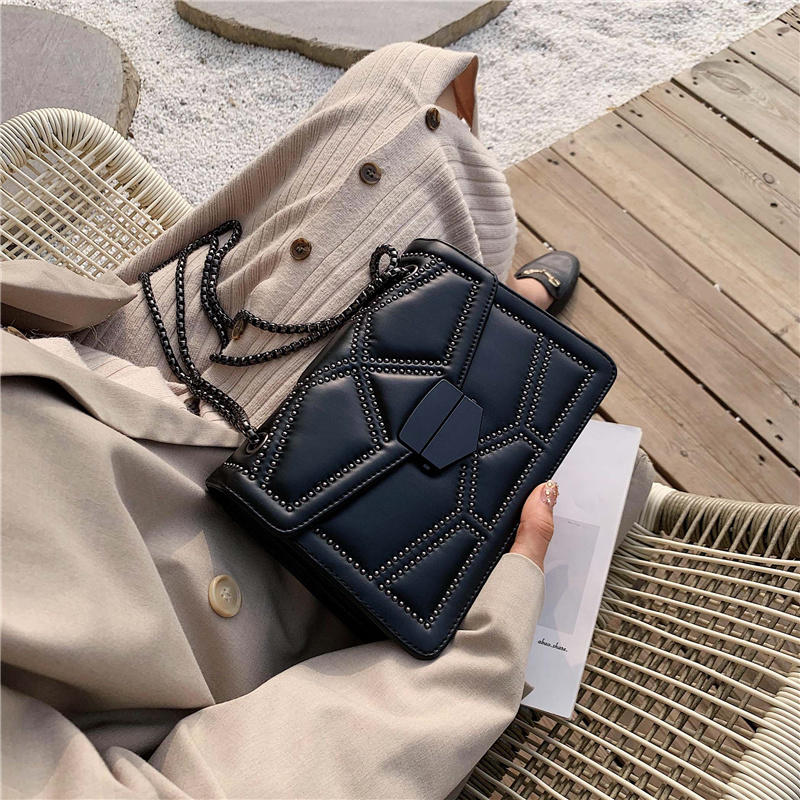 Rivet Chain Brand Designer PU Leather Cross-body Bags for Women 2020 Simple Fashion Shoulder Bag Lady Luxury Small Handbags
