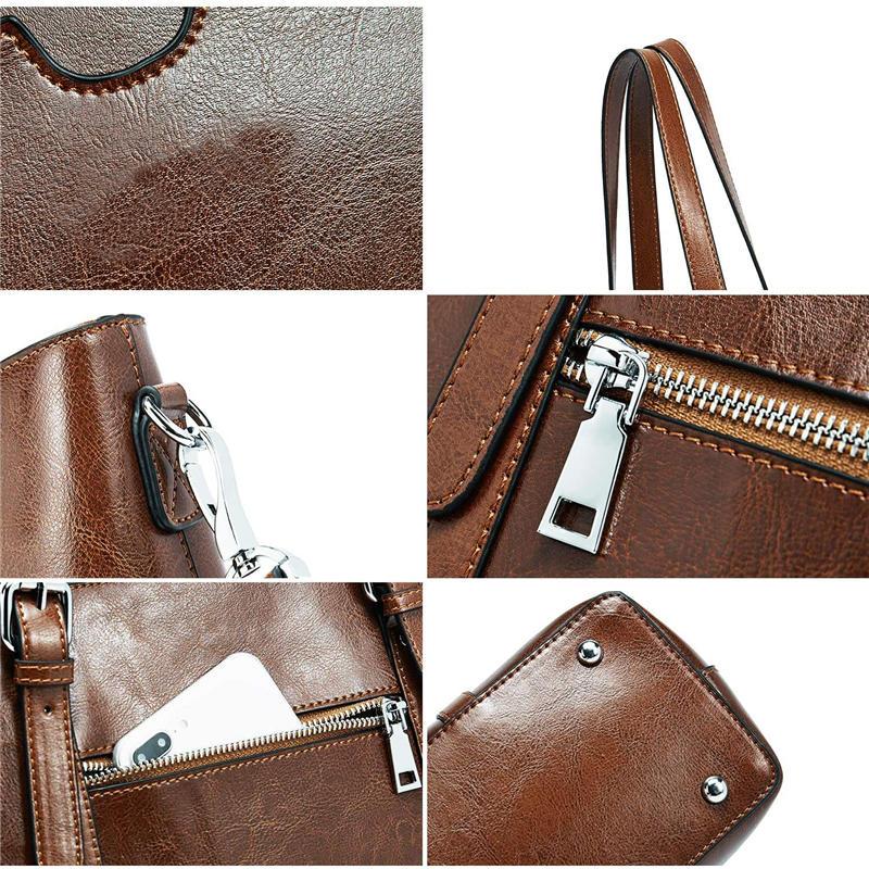 Women PU Leather Laptop Tote Office Shoulder Handbag fax leather Vintage Briefcase 15.6 inch Computer Work Purse Dark Brown