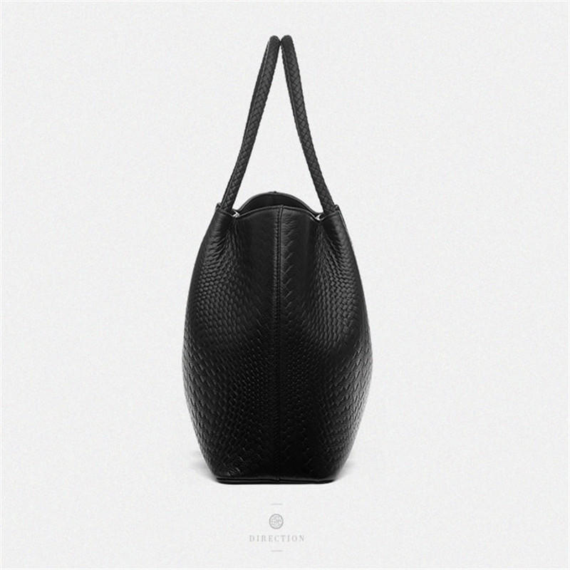 Leather Women Handbag Vintage Weave Shoulder Bags Lady High Quality Female Style Tote Bucket Bag
