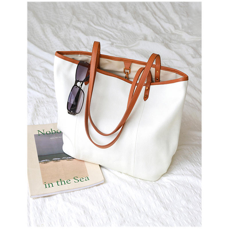 Women Tote Bag Female White Color Fashion Luxury Bags Casual Shoulder Handbag Lady Cowhide Genuine Leather Shoulder Shopping Bag