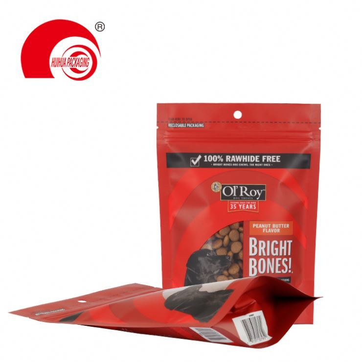 product-Huihua-Wholesale resealable zip lock flat bottom cat snack pouch pet food packaging bag-img