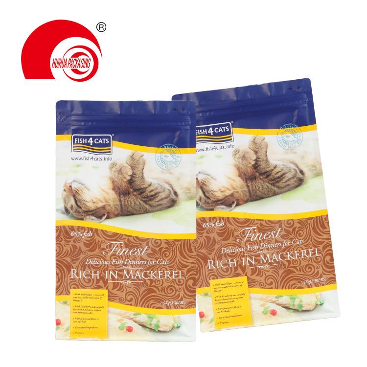 Custom Tear-off Zipper Pet Snack Food Pouch Flat Bottom Cat Snack Fish Packaging Bag