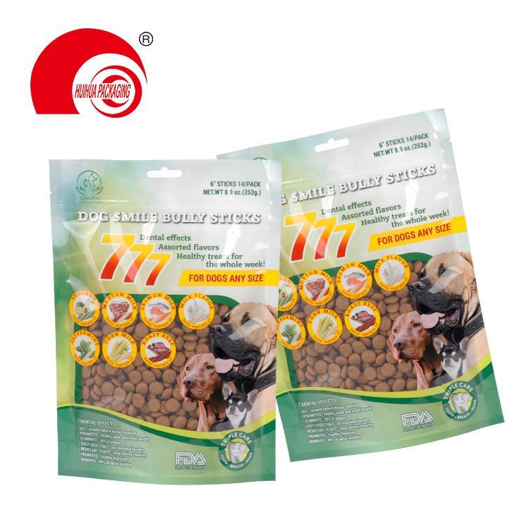Hot selling Colorful Packaging Limited plastic standing up pet food bags dog cat food bags