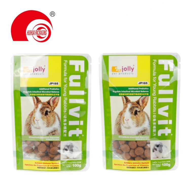 Laminated Stand Up Pouch Plastic Pet Food Packaging Bag with Zipper for Dog Self Standing Plastic Food Packaging Bags