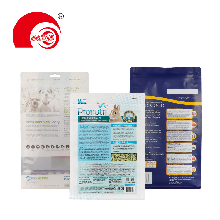 product-Custom Printing 200g 500g 1kg 2kg Square Bottom Pet Food Animal Feed Packaging Pouch-Huihua--1