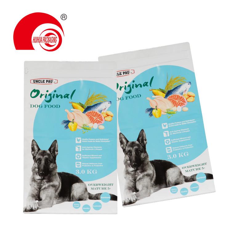 Smell Proof High Barrier Dog Food Bag Pouch Tear off Zipper Flat Bottom Packaging Pouch