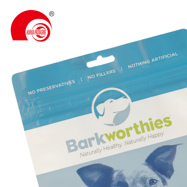 product-Flat Bottom Clear Window Pet Dog Food Pouch Mylar Bag with Euro Hole Tear-off Zipper-Huihua--1