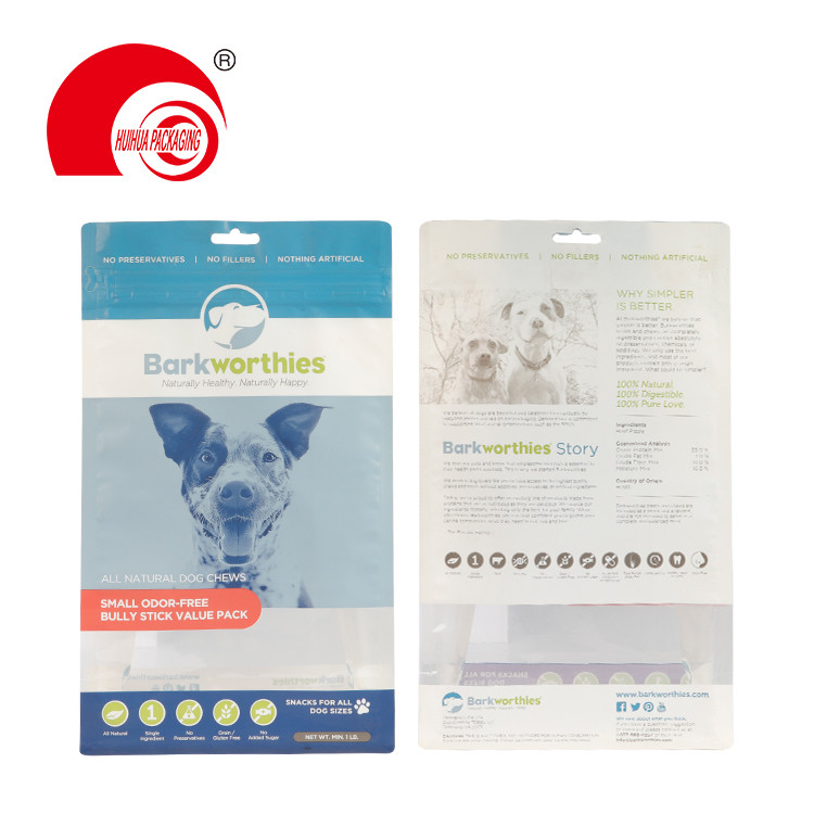 product-Huihua-Flat Bottom Clear Window Pet Dog Food Pouch Mylar Bag with Euro Hole Tear-off Zipper