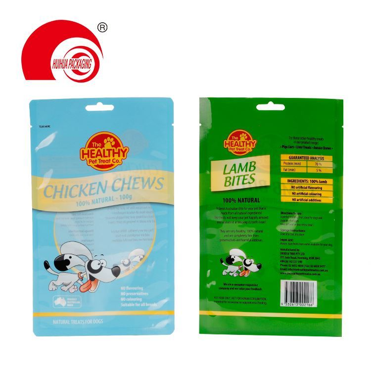 Plastic zipper top dog cat food bag pet food packaging bags laminated mylar pouch with tear notch custom printed