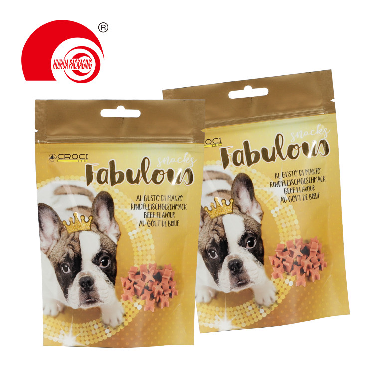 Custom Aluminum Foil Stand Up Dog Feed Packaging Pouch with Resealable Zipper Euro Hole