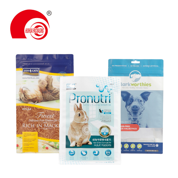 product-Huihua-Custom Printing 200g 500g 1kg 2kg Square Bottom Pet Food Animal Feed Packaging Pouch