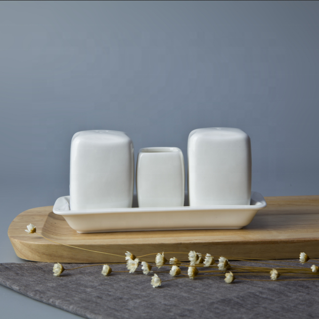 Ceramic Square Tableset Toothpick Holder Mr And Mrs Ceramic Salt And Pepper Shaker With Saucer, Salt And Pepper Shaker With Toot