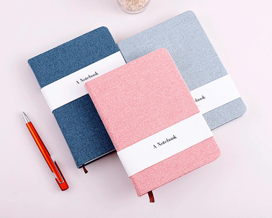 High Quality Premium Solid Color Fabric Cloth Cover Mix Inner Pages Notebook Office Notepad With Paper Tape