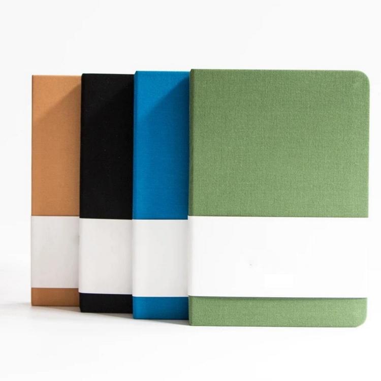 Premium Plain Office School Green Grey Blue 12X17 CM Round Corner Linen Fabric Hard Cover Notebook